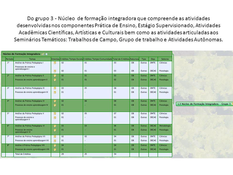 Do grupo 3 - Núcleo de formação integradora que compreende as atividades desenvolvidas nos componentes Prática de Ensino, Estágio Supervisionado, Ativ