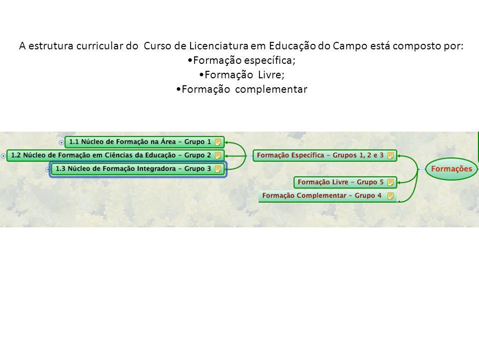 A estrutura curricular do Curso de Licenciatura em Educação do Campo está composto por: Formação específica; Formação Livre; Formação complementar