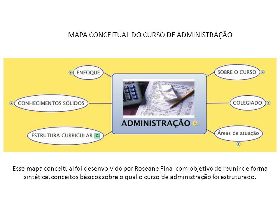 MAPA CONCEITUAL DO CURSO DE ADMINISTRAÇÃO Esse mapa conceitual foi desenvolvido por Roseane Pina com objetivo de reunir de forma sintética, conceitos básicos sobre o qual o curso de administração foi estruturado.