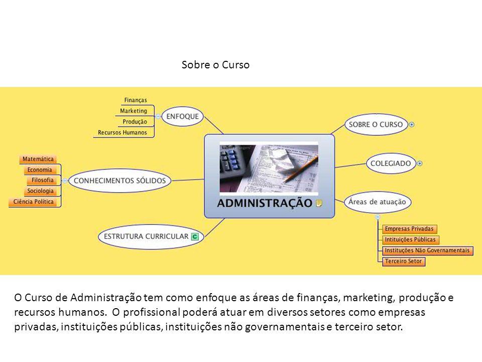 Sobre o Curso O Curso de Administração tem como enfoque as áreas de finanças, marketing, produção e recursos humanos. O profissional poderá atuar em d