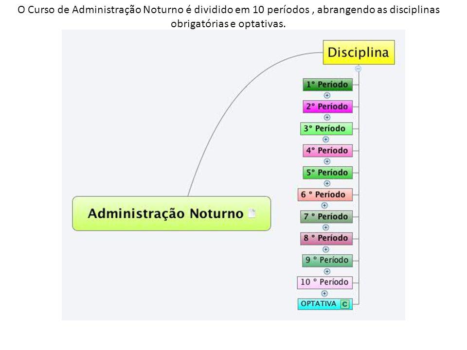 O Curso de Administração Noturno é dividido em 10 períodos, abrangendo as disciplinas obrigatórias e optativas.