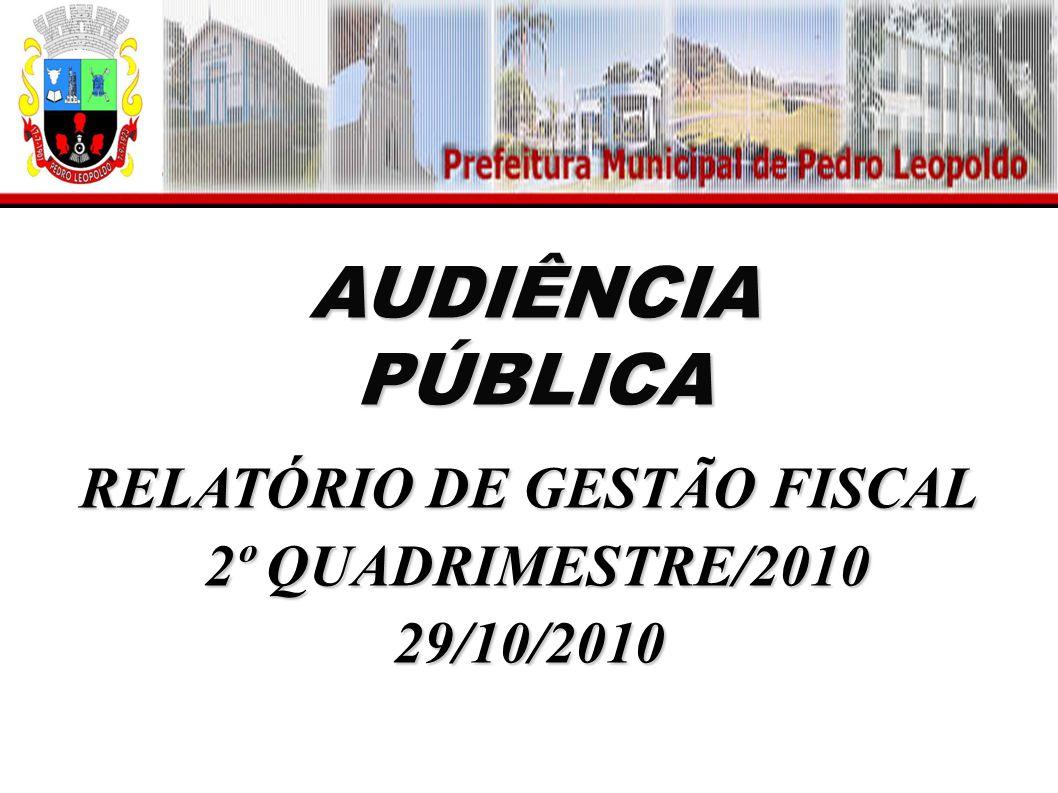 AUDIÊNCIA PÚBLICA RELATÓRIO DE GESTÃO FISCAL 2º QUADRIMESTRE/2010 2º QUADRIMESTRE/201029/10/2010