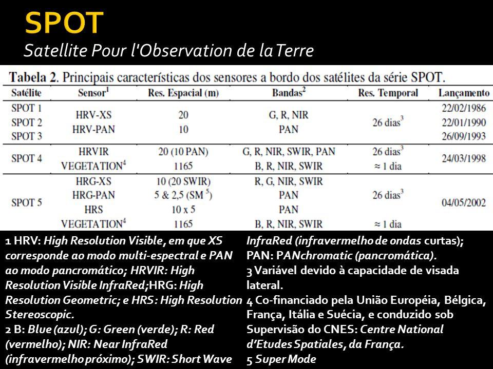 Satellite Pour l Observation de la Terre 1 HRV: High Resolution Visible, em que XS corresponde ao modo multi-espectral e PAN ao modo pancromático; HRVIR: High Resolution Visible InfraRed;HRG: High Resolution Geometric; e HRS: High Resolution Stereoscopic.