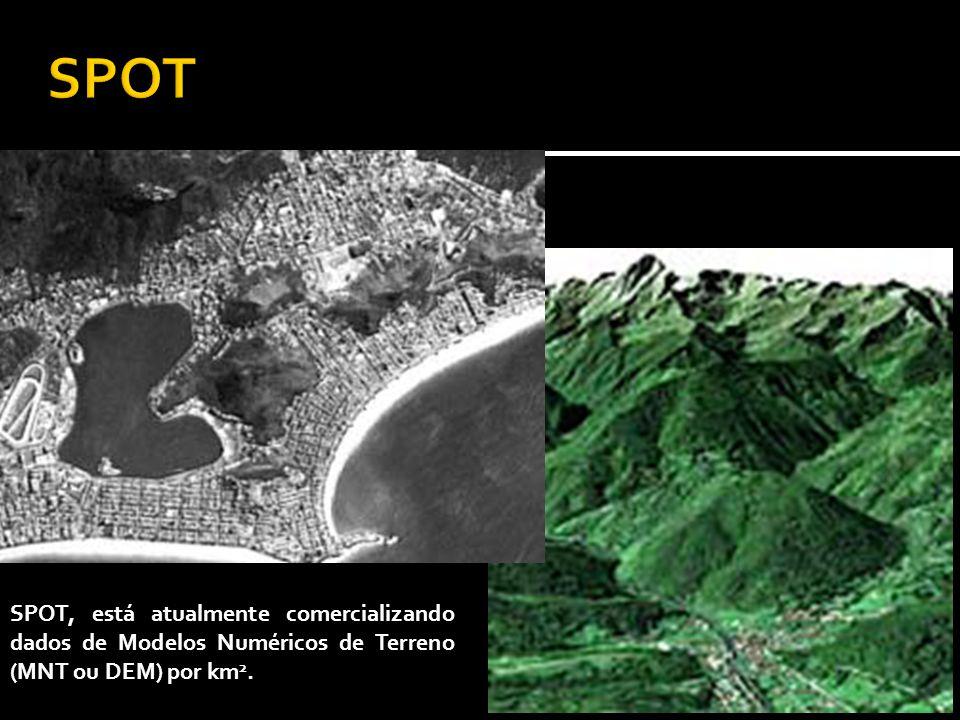 SPOT, está atualmente comercializando dados de Modelos Numéricos de Terreno (MNT ou DEM) por km 2.