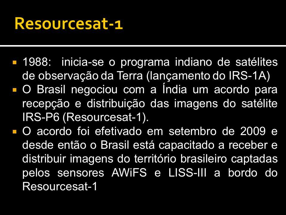  1988: inicia-se o programa indiano de satélites de observação da Terra (lançamento do IRS-1A)  O Brasil negociou com a Índia um acordo para recepção e distribuição das imagens do satélite IRS-P6 (Resourcesat-1).