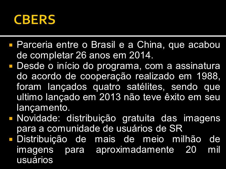  Parceria entre o Brasil e a China, que acabou de completar 26 anos em 2014.  Desde o início do programa, com a assinatura do acordo de cooperação r