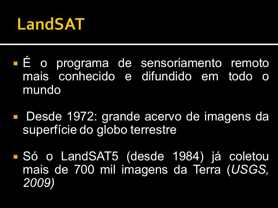  É o programa de sensoriamento remoto mais conhecido e difundido em todo o mundo  Desde 1972: grande acervo de imagens da superfície do globo terrestre  Só o LandSAT5 (desde 1984) já coletou mais de 700 mil imagens da Terra (USGS, 2009)