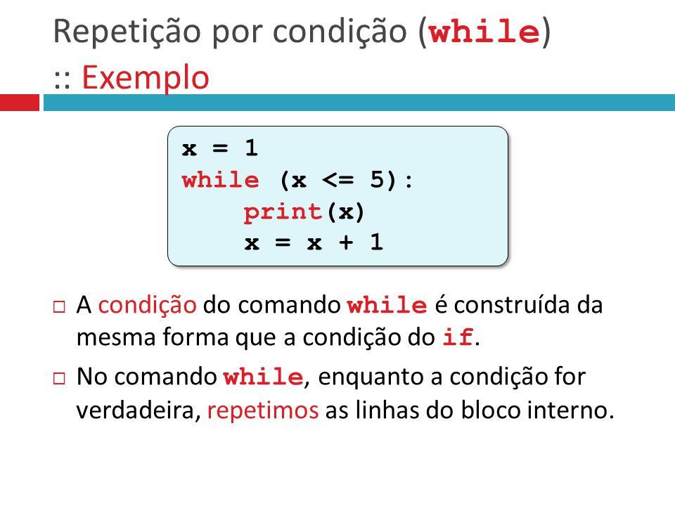 Repetição por condição ( while ) :: Exemplo  A condição do comando while é construída da mesma forma que a condição do if.