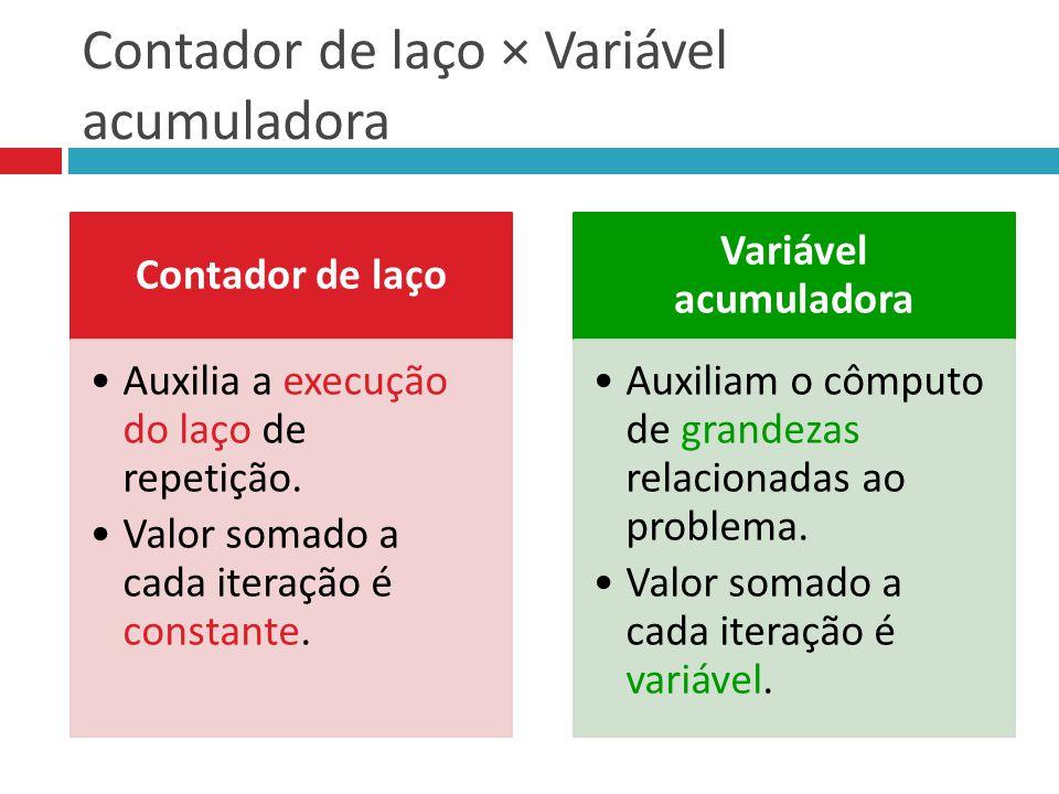 Contador de laço × Variável acumuladora Contador de laço Auxilia a execução do laço de repetição.