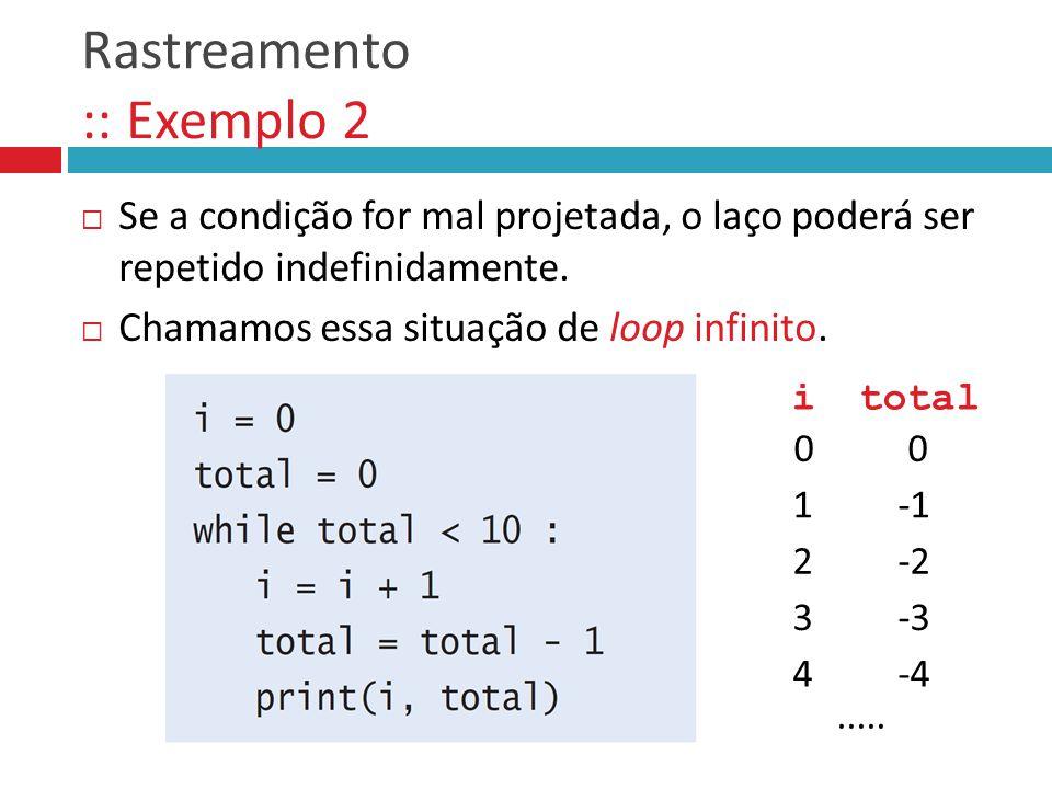 Rastreamento :: Exemplo 2  Se a condição for mal projetada, o laço poderá ser repetido indefinidamente.
