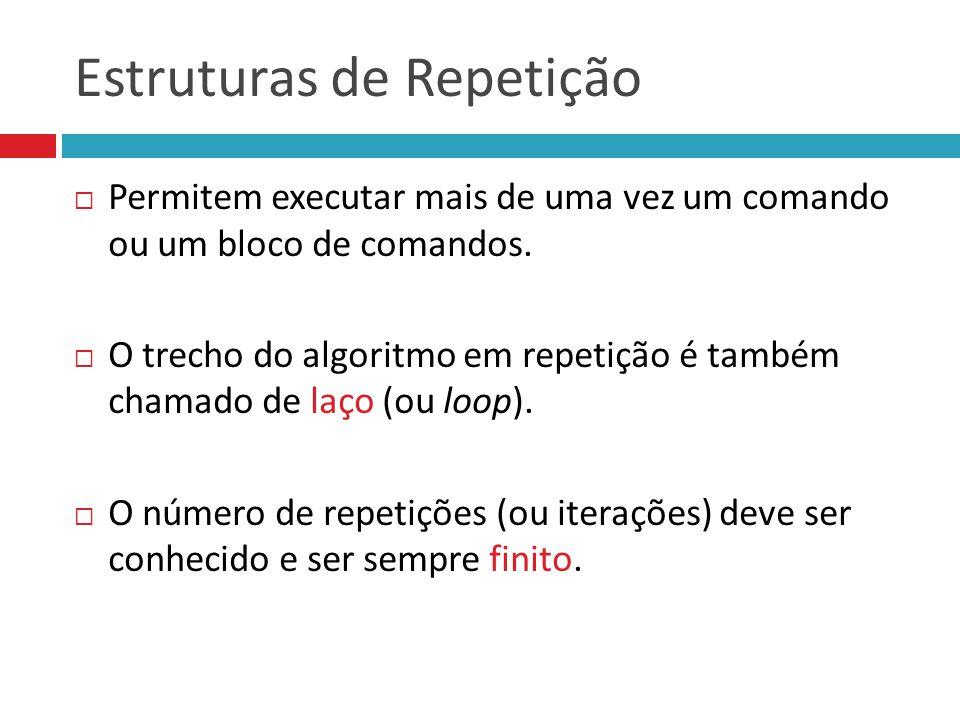 Estruturas de Repetição  Permitem executar mais de uma vez um comando ou um bloco de comandos.