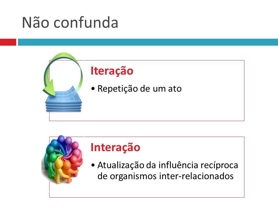 Não confunda Iteração Repetição de um ato Interação Atualização da influência recíproca de organismos inter-relacionados