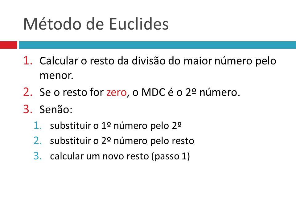 Método de Euclides 1.Calcular o resto da divisão do maior número pelo menor.