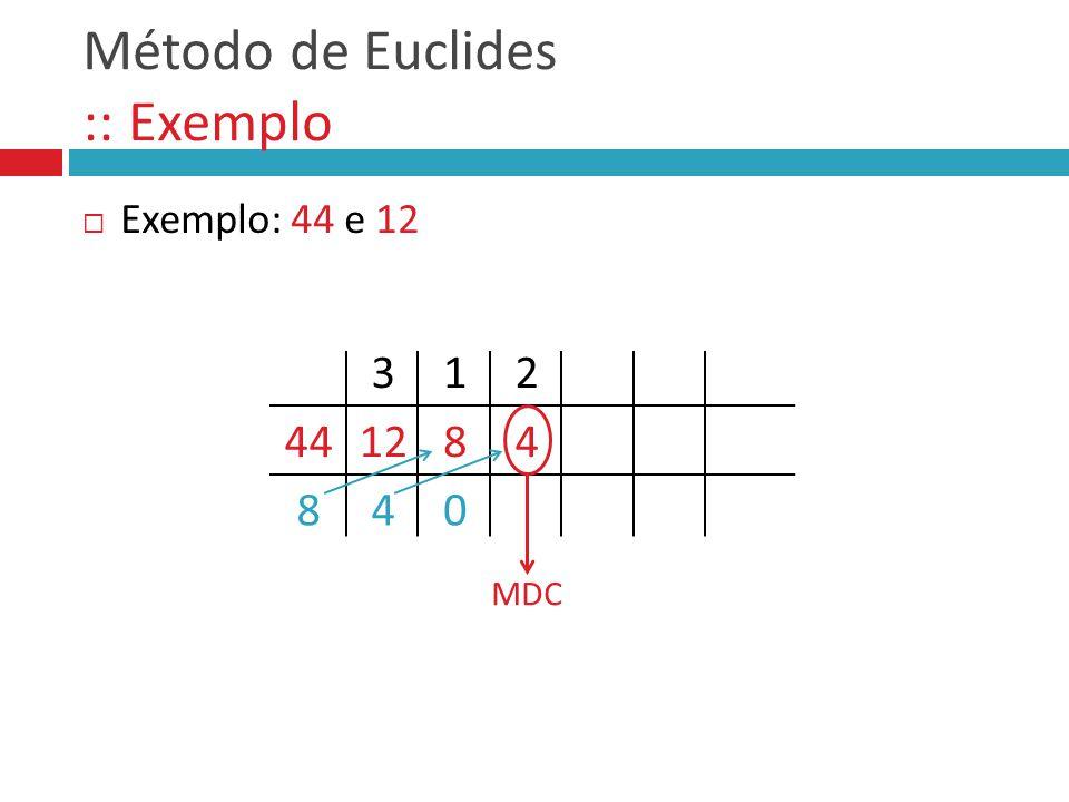 Método de Euclides :: Exemplo  Exemplo: 44 e 12 441284 8 3 4 1 0 2 MDC