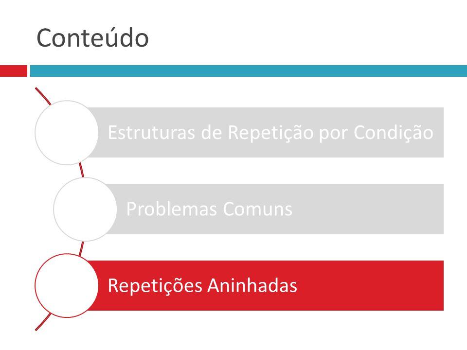 Conteúdo Estruturas de Repetição por Condição Problemas Comuns Repetições Aninhadas