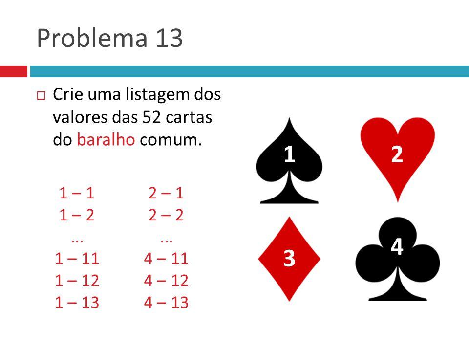 Problema 13  Crie uma listagem dos valores das 52 cartas do baralho comum.