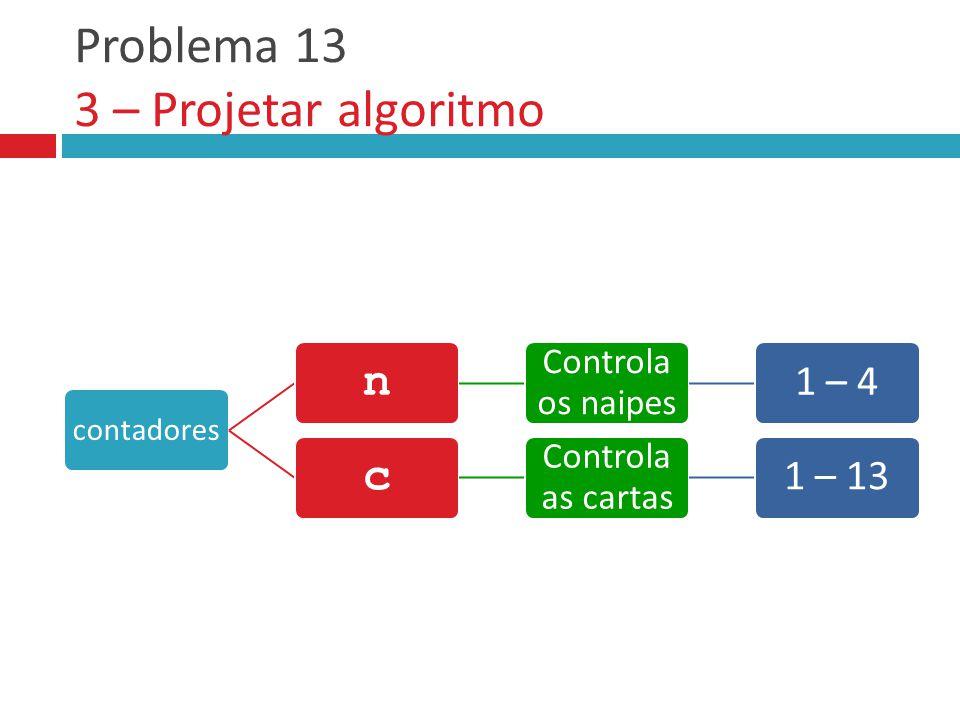 Problema 13 3 – Projetar algoritmo contadores n Controla os naipes 1 – 4 c Controla as cartas 1 – 13