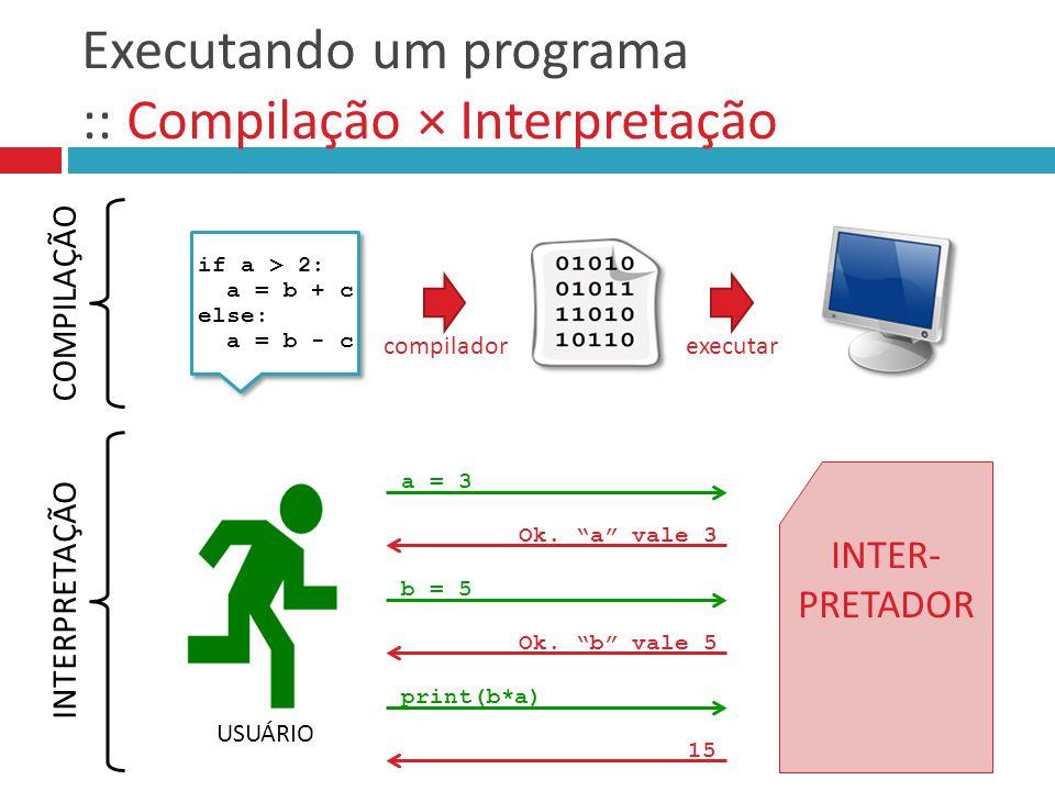 Executando um programa :: Compilação × Interpretação if a > 2: a = b + c else: a = b - c if a > 2: a = b + c else: a = b - c compiladorexecutar a = 3