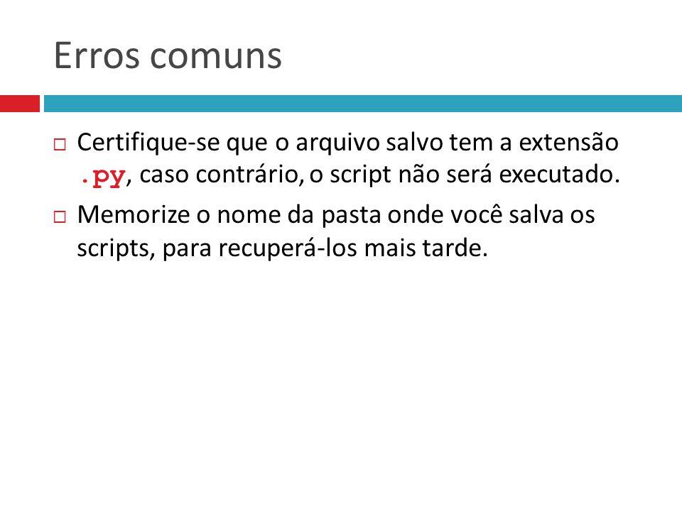 Erros comuns  Certifique-se que o arquivo salvo tem a extensão.py, caso contrário, o script não será executado.  Memorize o nome da pasta onde você
