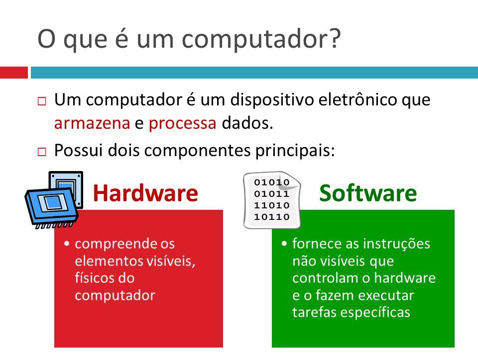 O que é um computador?  Um computador é um dispositivo eletrônico que armazena e processa dados.  Possui dois componentes principais: Hardware compr