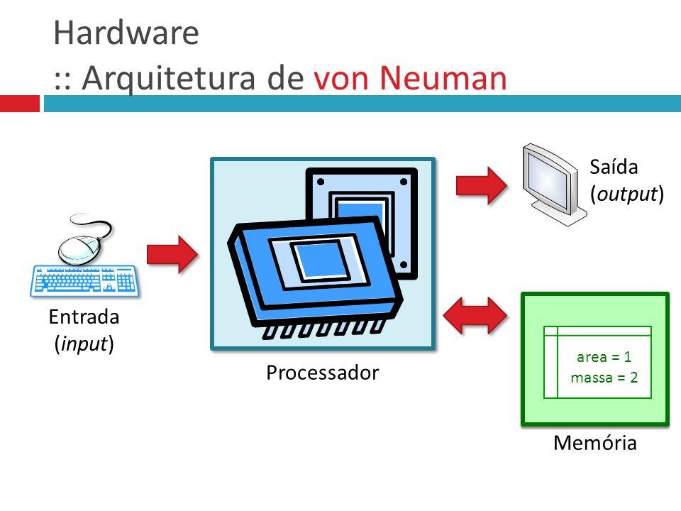 Hardware :: Arquitetura de von Neuman Processador Entrada (input) Saída (output) area = 1 massa = 2 Memória