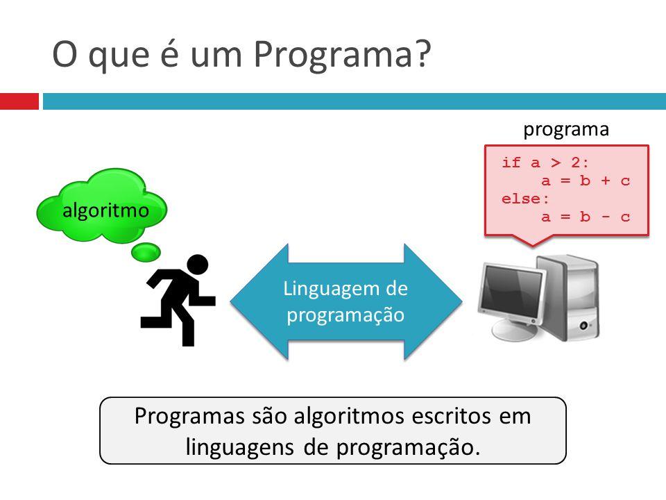 O que é um Programa? Linguagem de programação if a > 2: a = b + c else: a = b - c if a > 2: a = b + c else: a = b - c programa algoritmo Programas são