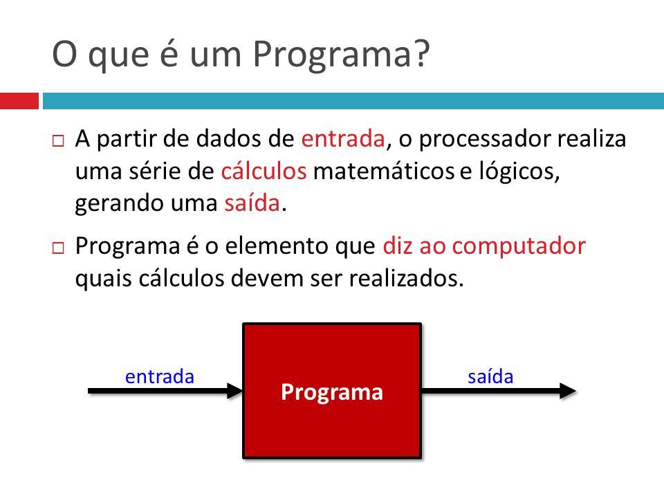 O que é um Programa?  A partir de dados de entrada, o processador realiza uma série de cálculos matemáticos e lógicos, gerando uma saída.  Programa