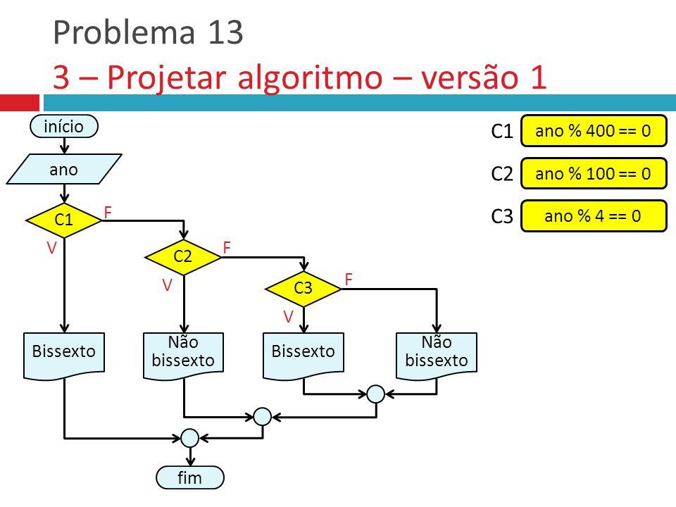 Problema 13 3 – Projetar algoritmo – versão 1 V F fim C2 Não bissexto V F início ano Bissexto C1 ano % 400 == 0 C1 ano % 100 == 0 C2 ano % 4 == 0 C3 V