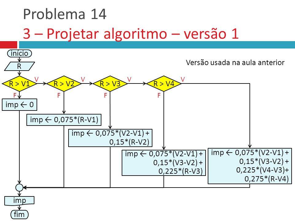 Problema 14 3 – Projetar algoritmo – versão 1 início R R > V1 V imp ← 0,075*(R-V1) F R > V2R > V3 FF VV R > V4 F V imp ← 0 imp ← 0,075*(V2-V1) + 0,15*