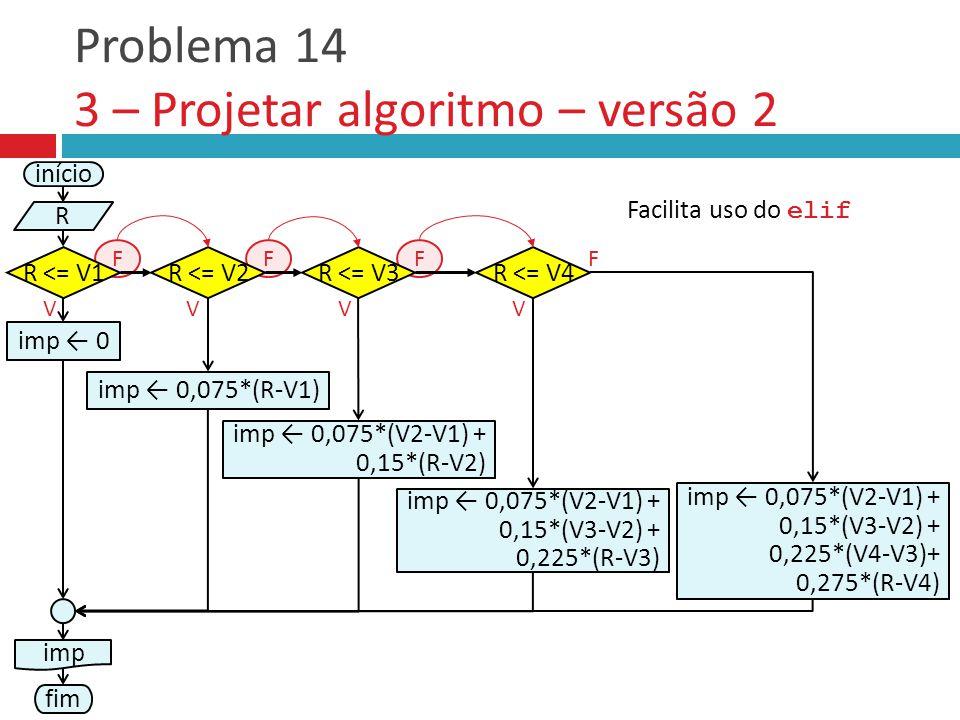 V Problema 14 3 – Projetar algoritmo – versão 2 início R R <= V1 F imp ← 0,075*(R-V1) R <= V2R <= V3 VV FF R <= V4 V F imp ← 0 imp ← 0,075*(V2-V1) + 0