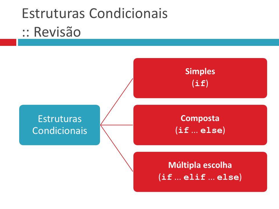 Estruturas Condicionais :: Revisão Estruturas Condicionais Simples ( if ) Composta ( if... else ) Múltipla escolha ( if... elif... else )