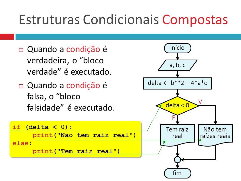 """Estruturas Condicionais Compostas  Quando a condição é verdadeira, o """"bloco verdade"""" é executado.  Quando a condição é falsa, o """"bloco falsidade"""" é"""
