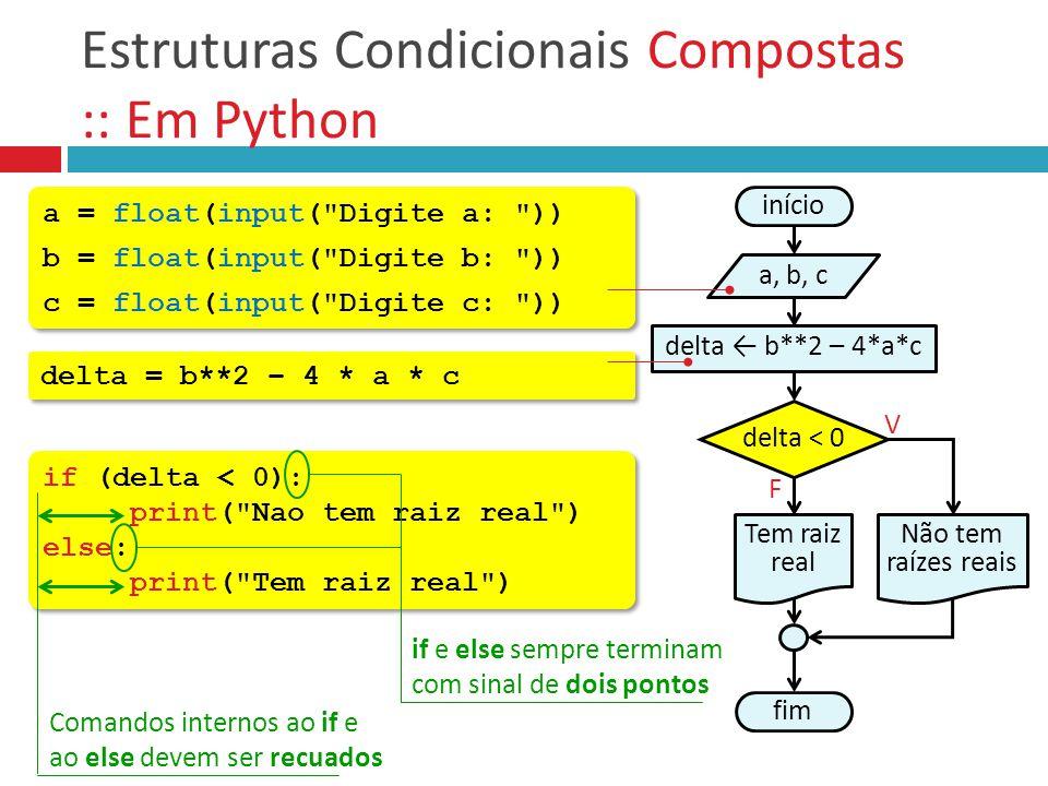 Estruturas Condicionais Compostas :: Em Python if (delta < 0): print(