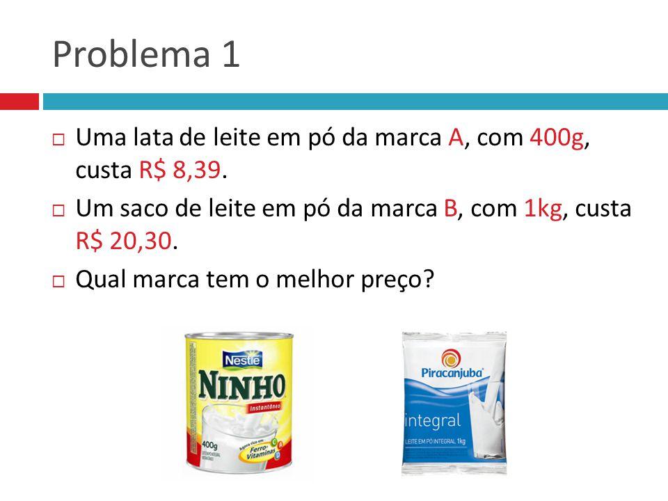 Problema 1  Uma lata de leite em pó da marca A, com 400g, custa R$ 8,39.  Um saco de leite em pó da marca B, com 1kg, custa R$ 20,30.  Qual marca t