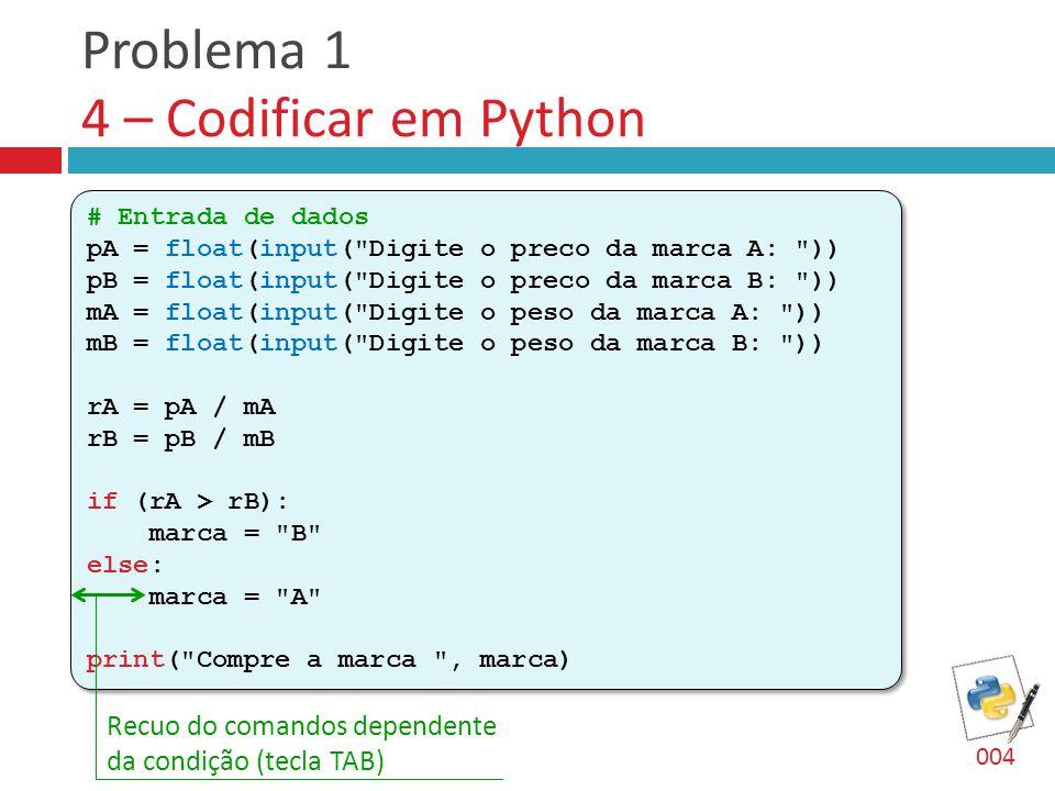 Problema 1 4 – Codificar em Python # Entrada de dados pA = float(input(