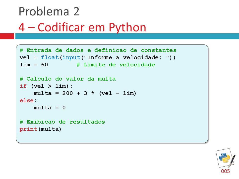 Problema 2 4 – Codificar em Python # Entrada de dados e definicao de constantes vel = float(input(