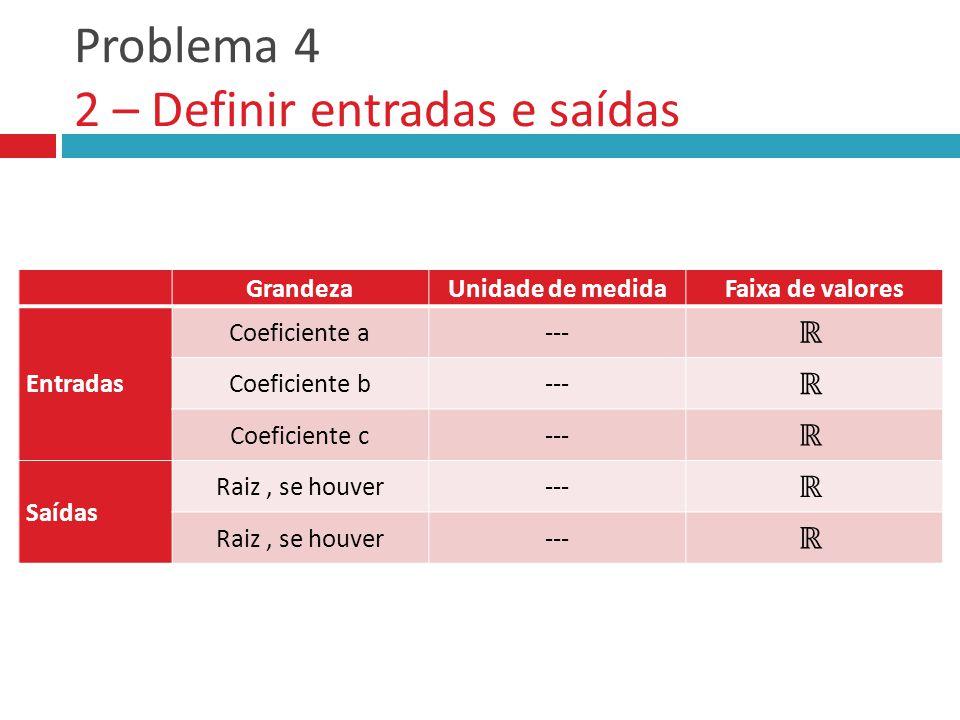 Problema 4 2 – Definir entradas e saídas GrandezaUnidade de medidaFaixa de valores Entradas Saídas GrandezaUnidade de medidaFaixa de valores Entradas