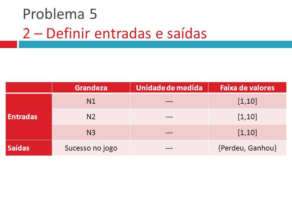 Problema 5 2 – Definir entradas e saídas GrandezaUnidade de medidaFaixa de valores Entradas Saídas GrandezaUnidade de medidaFaixa de valores Entradas