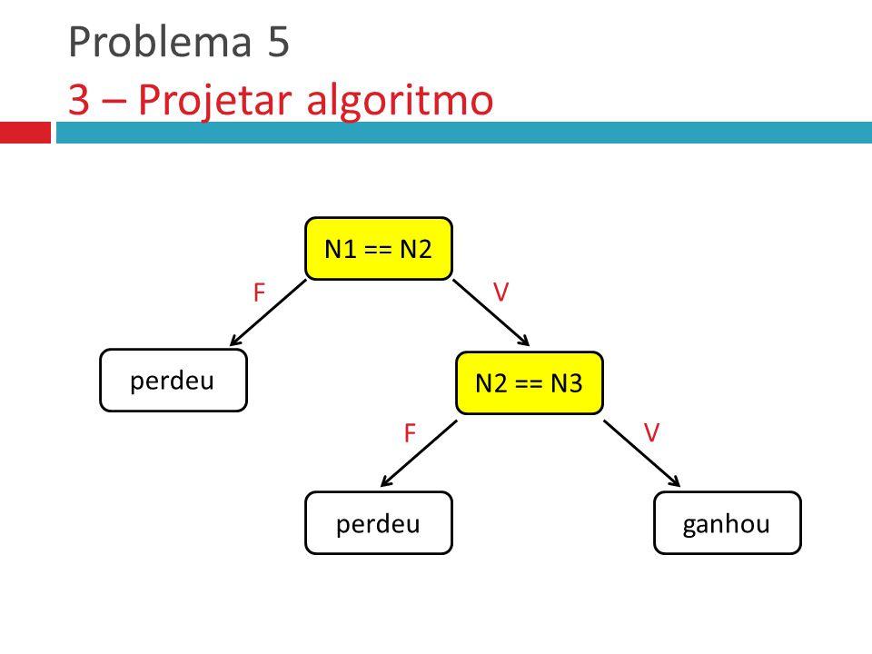 Problema 5 3 – Projetar algoritmo N1 == N2 N2 == N3 perdeu F V ganhou F V
