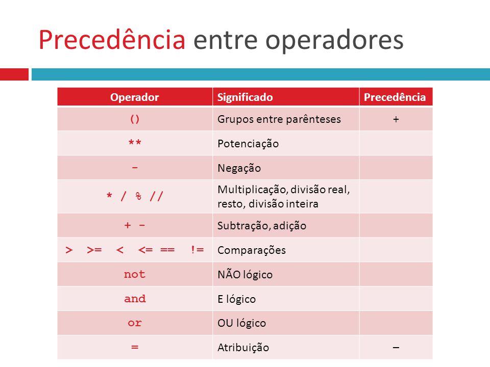 Precedência entre operadores OperadorSignificadoPrecedência () Grupos entre parênteses+ ** Potenciação - Negação * / % // Multiplicação, divisão real,