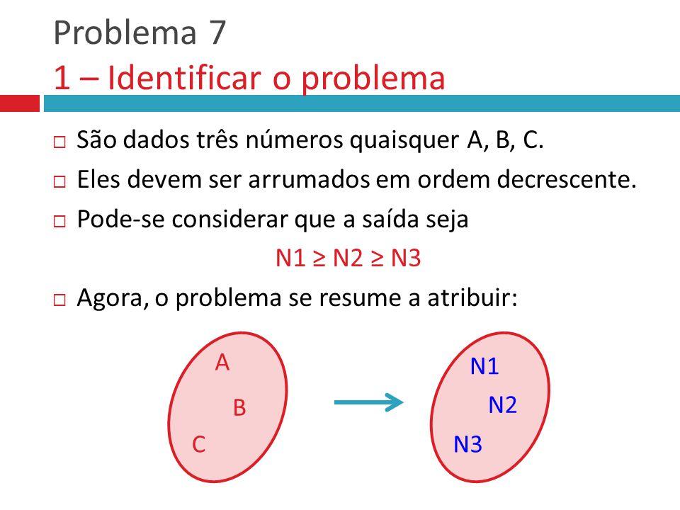 Problema 7 1 – Identificar o problema  São dados três números quaisquer A, B, C.  Eles devem ser arrumados em ordem decrescente.  Pode-se considera