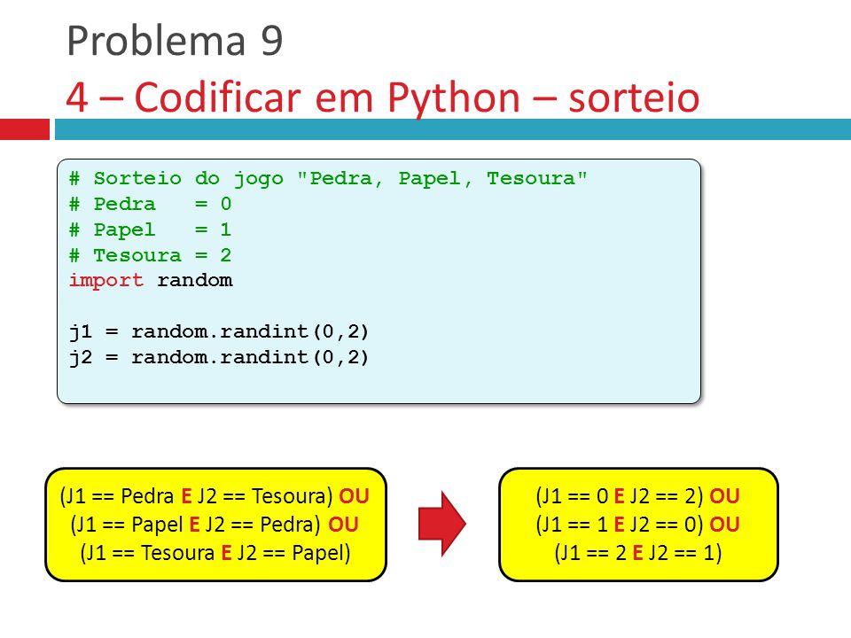Problema 9 4 – Codificar em Python – sorteio # Sorteio do jogo