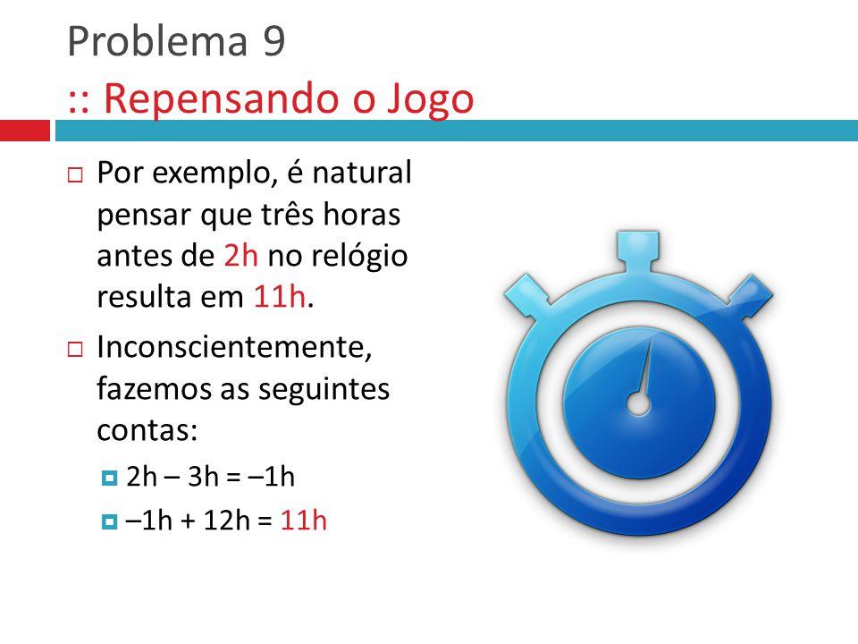  Por exemplo, é natural pensar que três horas antes de 2h no relógio resulta em 11h.  Inconscientemente, fazemos as seguintes contas:  2h – 3h = –1