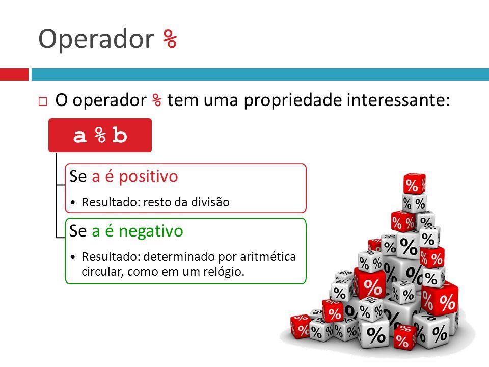 Operador %  O operador % tem uma propriedade interessante: a % ba % b Se a é positivo Resultado: resto da divisão Se a é negativo Resultado: determin