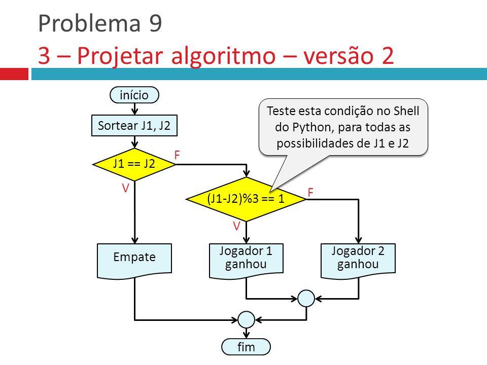 Problema 9 3 – Projetar algoritmo – versão 2 V F Empate fim Jogador 2 ganhou (J1-J2)%3 == 1 Jogador 1 ganhou V F início Sortear J1, J2 J1 == J2 Teste