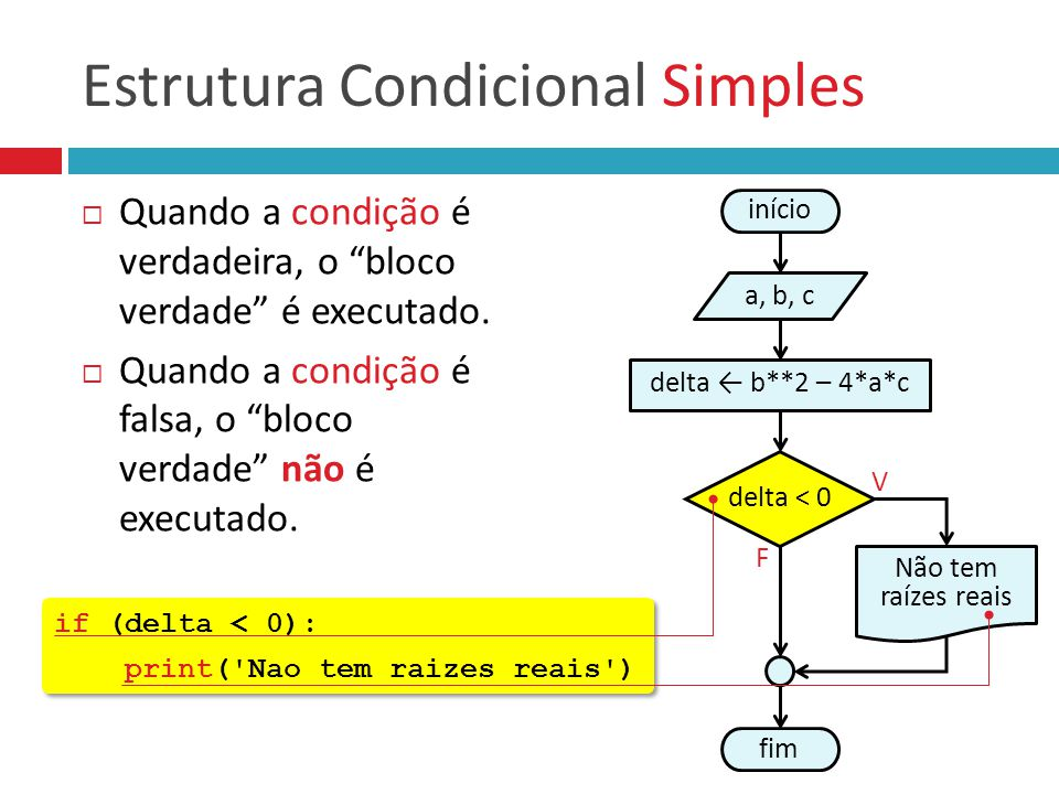 Estrutura Condicional Simples :: Em Python a = float(input( Digite a: )) b = float(input( Digite b: )) c = float(input( Digite c: )) a = float(input( Digite a: )) b = float(input( Digite b: )) c = float(input( Digite c: )) início a, b, c fim delta < 0 F Não tem raízes reais v delta ← b**2 – 4*a*c if (delta < 0): print( Nao tem raizes reais ) if (delta < 0): print( Nao tem raizes reais ) delta = b**2 – 4 * a * c Condições sempre terminam com sinal de dois pontos Comandos internos às condições devem ser recuados (tecla TAB)