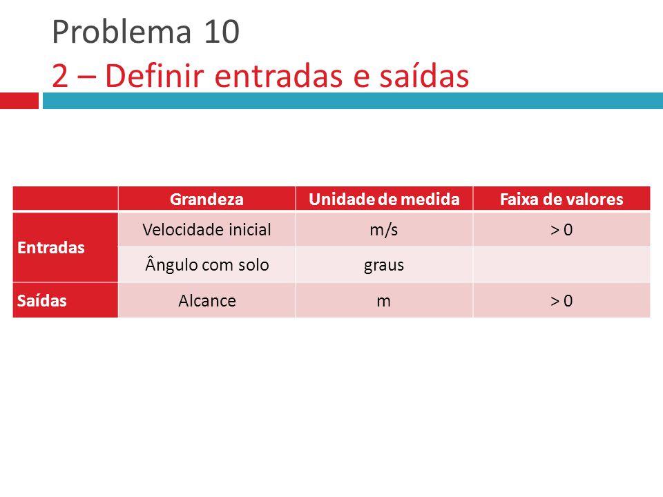 Problema 10 2 – Definir entradas e saídas GrandezaUnidade de medidaFaixa de valores Entradas Saídas GrandezaUnidade de medidaFaixa de valores Entradas