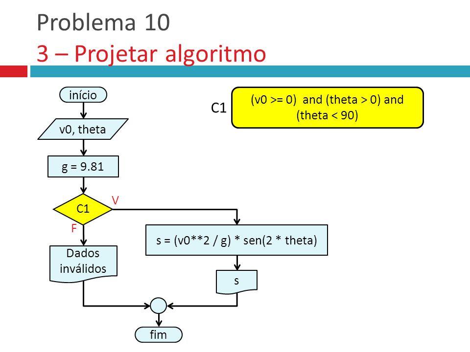 Problema 10 3 – Projetar algoritmo fim F V início v0, theta Dados inválidos C1 (v0 >= 0) and (theta > 0) and (theta < 90) C1 s = (v0**2 / g) * sen(2 *