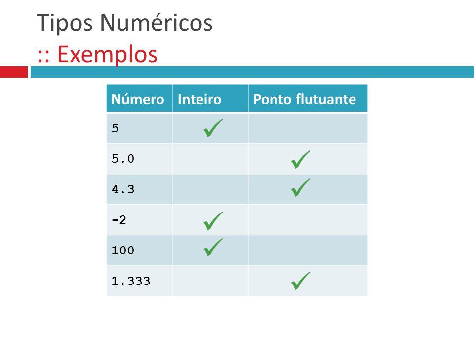 Tipos Numéricos :: Exemplos NúmeroInteiroPonto flutuante 5 5.0 4.3 -2 100 1.333