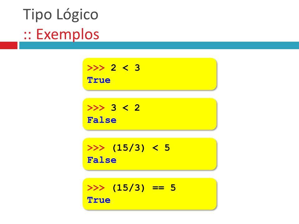Tipo Lógico :: Exemplos >>> 2 < 3 True >>> 2 < 3 True >>> 3 < 2 False >>> 3 < 2 False >>> (15/3) < 5 False >>> (15/3) < 5 False >>> (15/3) == 5 True >
